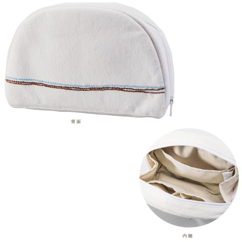 ミラー刺繍ラウンドポーチ 地層柄(白)