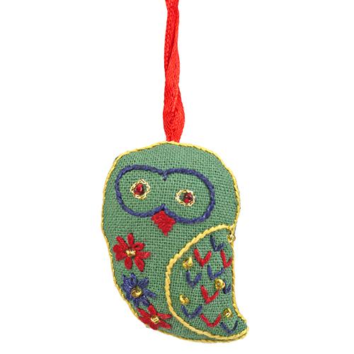 ミラー刺繍 オーナメント ふくろう(緑)