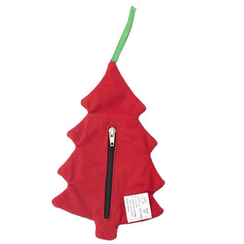 ファスナー付き刺繍オーナメント ツリー(赤)