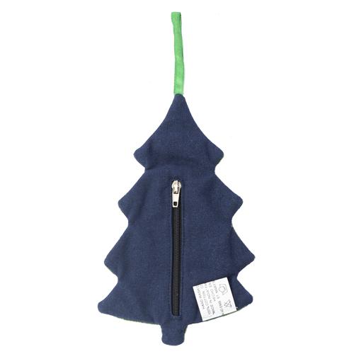 ファスナー付き刺繍オーナメント ツリー(紺)