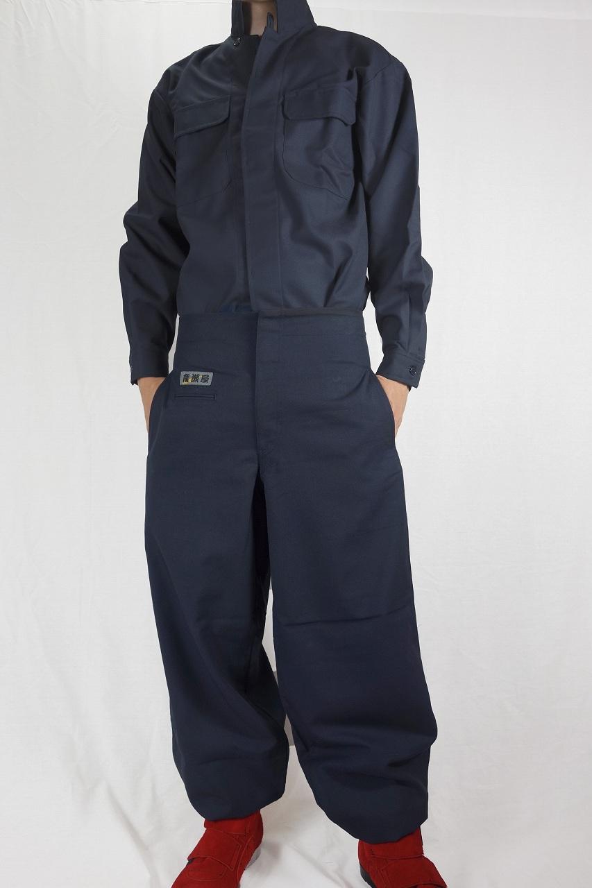 【上着のみ】日本製廣瀬屋細身 ヒヨクオープンシャツ 紺(ネイビー)