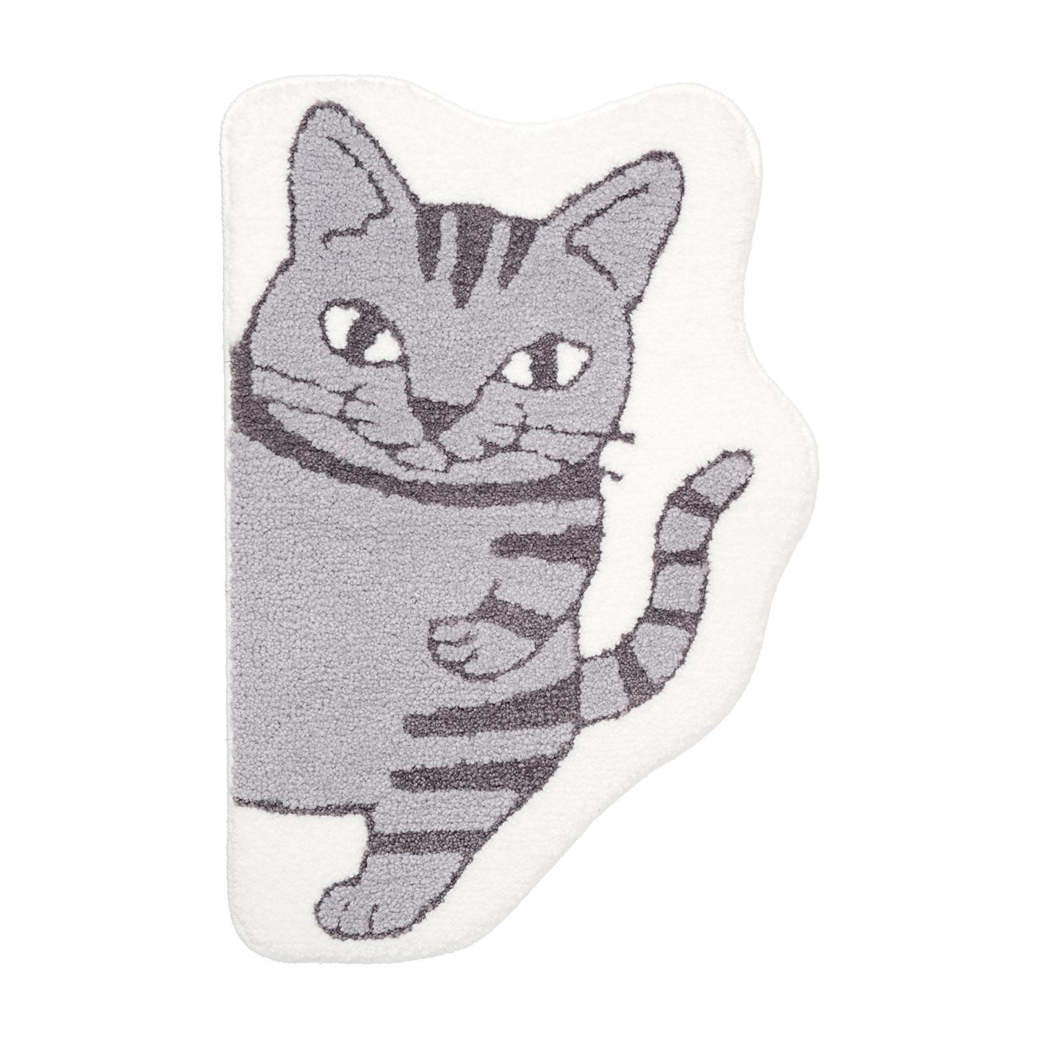 のぞき見動物 バスマット 40x60 ネコ