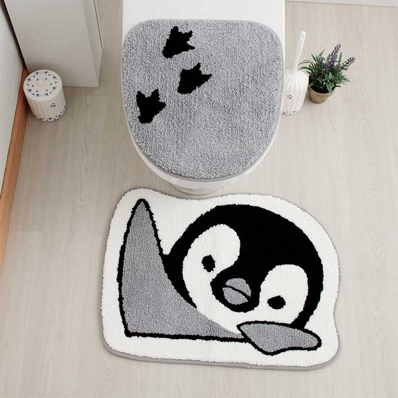 のぞき見動物 トイレマット 50x65 ペンギン