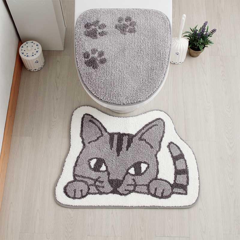のぞき見動物 トイレマット・フタットシート2点セット ネコ