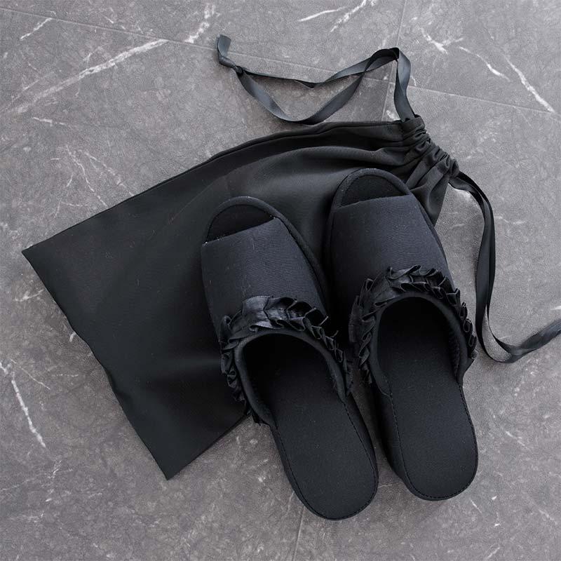 ルームシューズ ヒールブラックフリル 巾着付き DFSS-003-2