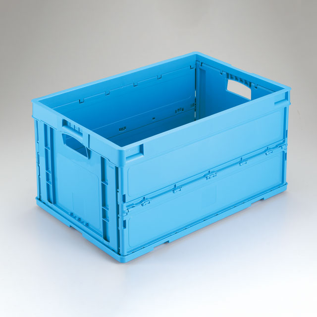岐阜プラスチック工業 折りたたみコンテナー CB-S63NR ブルー・ブルー透明