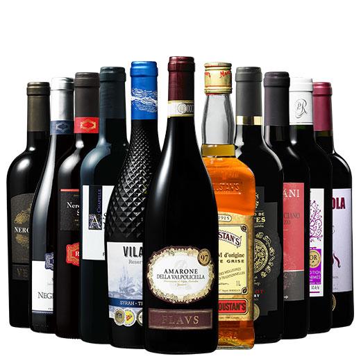 イタリア格上アマローネ入り!三大銘醸地の赤ワイン10本&ラム1本セット 赤ワインセット 金賞  イタリア カベルネ