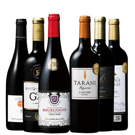 フランス各地周遊飲み比べ赤ワイン6本セット 赤ワインセット ボルドーワイン カベルネ