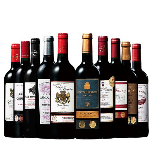 ボルドーグレートヴィンテージ2015&2016赤ワイン10本セット 赤ワインセット 金賞 ボルドーワイン カベルネ
