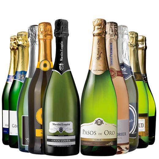 50%OFF!【ストッパー付】金賞&高評価&シャンパン製法入り!世界辛口スパークリング10本