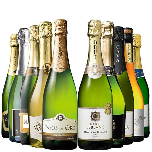 55%OFF!【ストッパー付】金賞&高評価&シャンパン製法入り!世界辛口スパークリング10本 ワインセット 金賞 スパークリングワイン シャルドネ