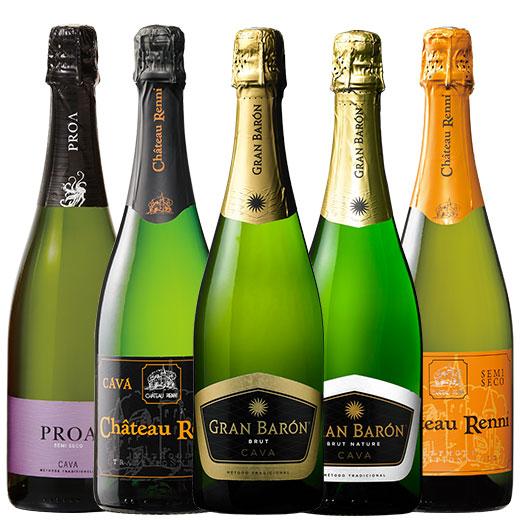 トリプル金賞&高評価ワイン入り!シャンパーニュ製法カバ5本セット ワインセット スパークリングワイン