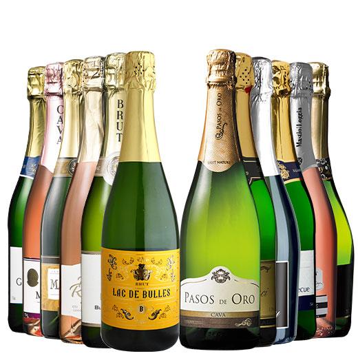瓶内二次発酵カバを含む世界銘醸国の泡12本セット ワインセット 金賞 スパークリングワイン