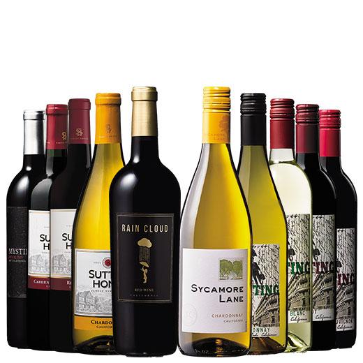 カリフォルニアのお値打ちワインを飲み比べ!赤白デイリーワインお得10本セット 赤ワイン 白ワイン カベルネ 赤白