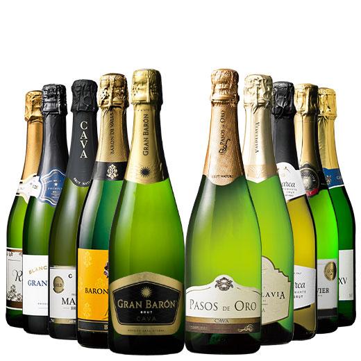 シャンパーニュ製法入り!3大銘醸地辛口泡10本セット ワインセット スパークリングワイン
