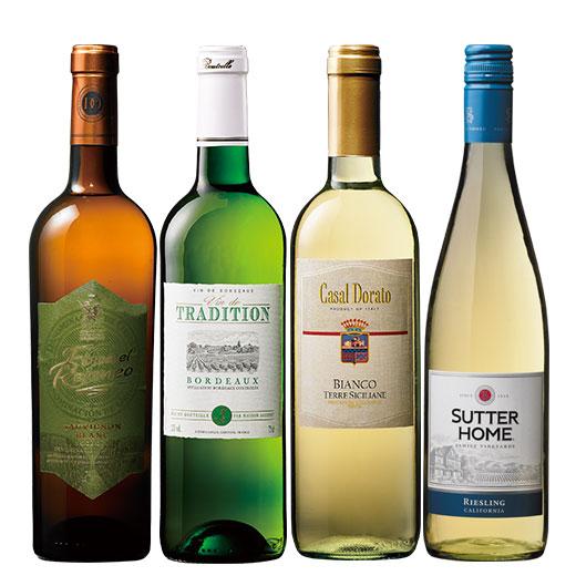 世界4カ国金賞辛口白ワイン4本セット ワインセット 金賞 ボルドーワイン
