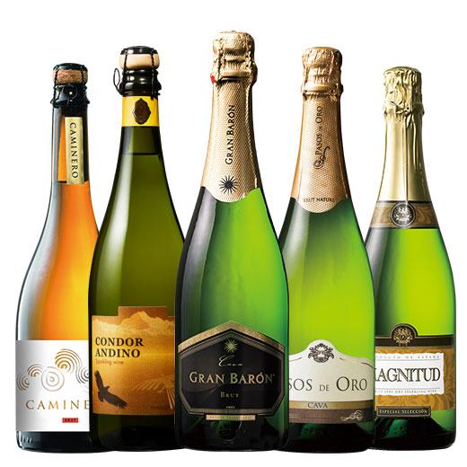 金賞ワイン&シャンパーニュ製法入り!世界スパークリング5本セット ワインセット スパークリングワイン