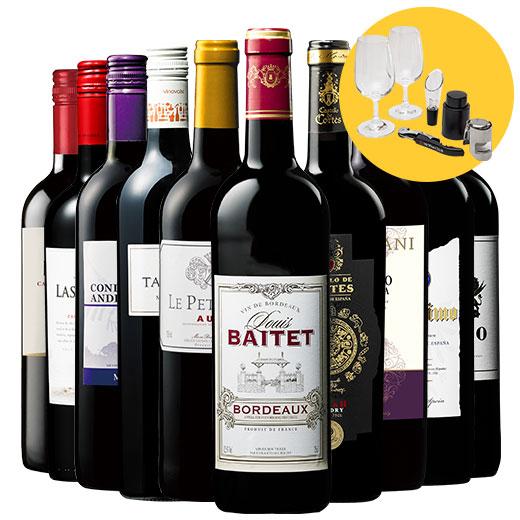 【ワインスターターキット付】3大銘醸地入り!世界選りすぐり赤ワイン10本セット 赤ワインセット 金賞 ボルドーワイン イタリア カベルネ