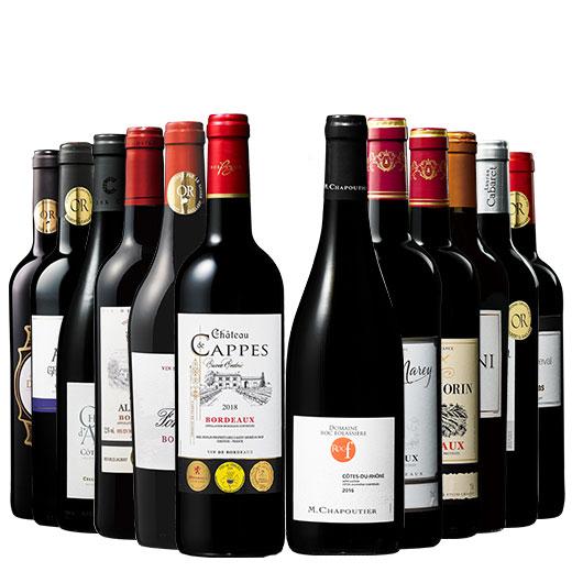 ローヌ超名門生産者ワイン入り!フランス金賞赤ワイン12本セット 赤ワインセット ボルドーワイン カベルネ