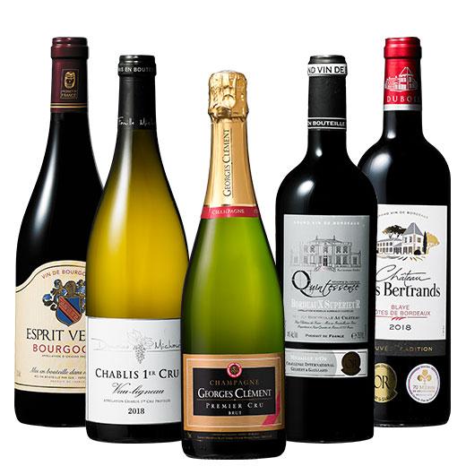 プルミエ・クリュシャンパン&シャブリ入りフランス銘醸地赤白スパークリング5本 ワインセット スパークリングワイン 赤ワイン 白ワイン 赤白泡