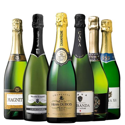 金賞シャンパーニュ入り!3大銘醸地泡6本セット ワインセット 金賞 スパークリングワイン ピノ・ノワール シャンパン
