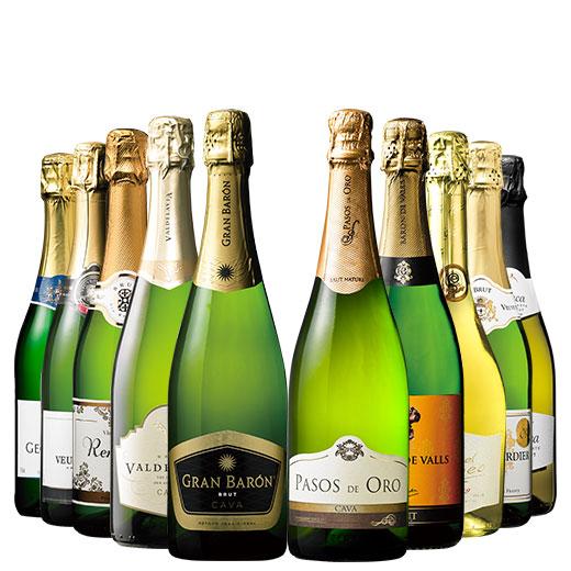 ヨーロッパ3大銘醸地から厳選!辛口金賞・高評価スパークリング10本セット ワインセット スパークリングワイン