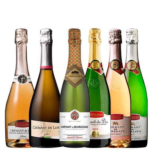 ブルゴーニュ&ロワール入り!フランス産本格シャンパン製法クレマン飲み比べ6本セット ワインセット スパークリングワイン