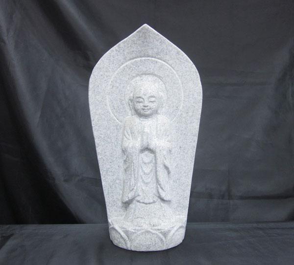 白御影石 舟形地蔵(合唱) 高さ30cm