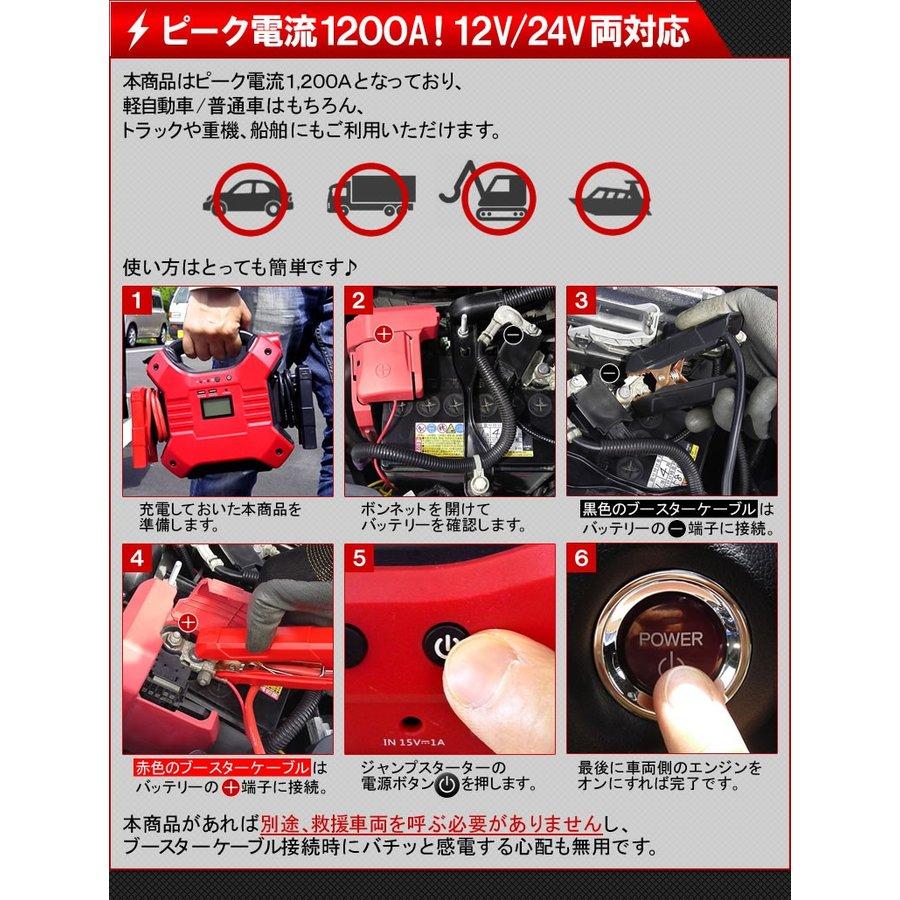 大容量ジャンプスターター 12V車 24V車対応 600A 32,000mAh