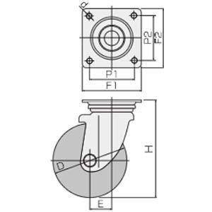 WJ-100UB(自在φ100ウレタン車輪キャスター)