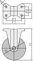 WK-100UB(固定φ100ウレタン車輪キャスター)