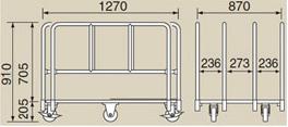 サカエ RT-1280L スチール製長尺運搬車