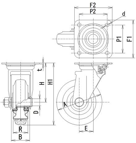 SJ-130(自在φ130ゴム車輪キャスター)
