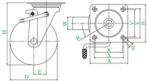 PMS-150AWLB(R)(自在φ150ゴム車輪キャスターWストッパー付)