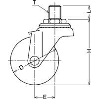 420A-2N65(自在φ60ナイロン車輪ねじ込み式キャスター)