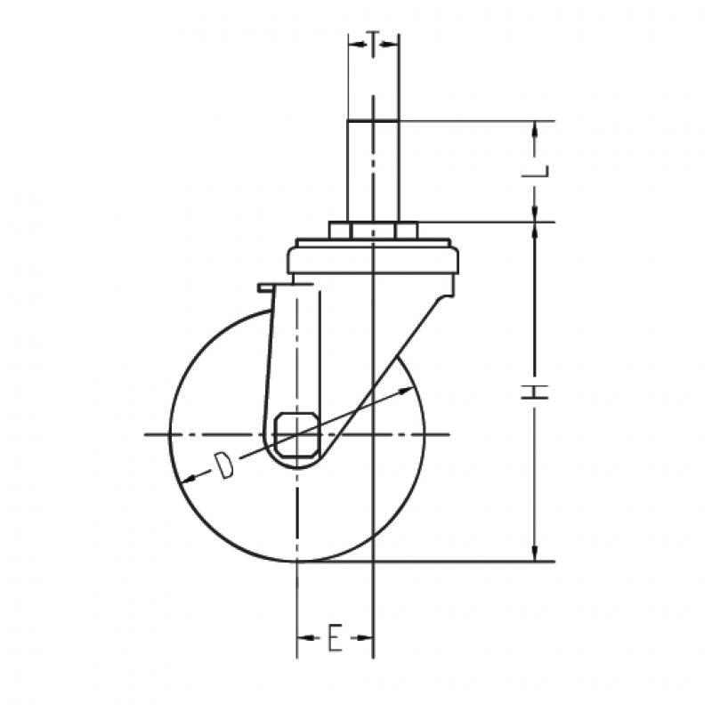 GR-75TB(自在φ75ウレタン車輪ゴムパイプ軸24径キャスター)