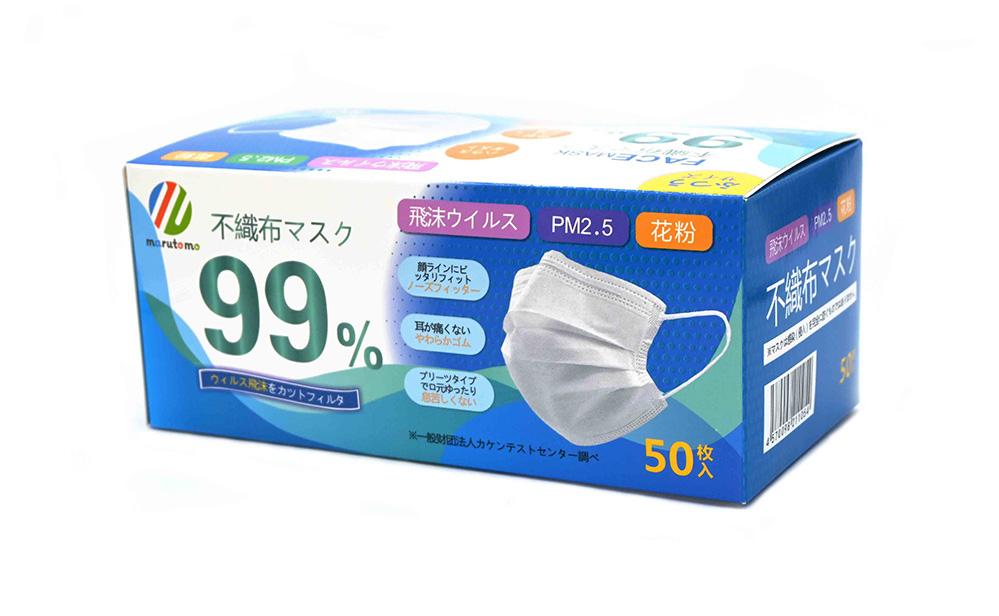 【50箱セット】高品質不織布マスク ソフト平ゴム 1箱50枚入 大人用