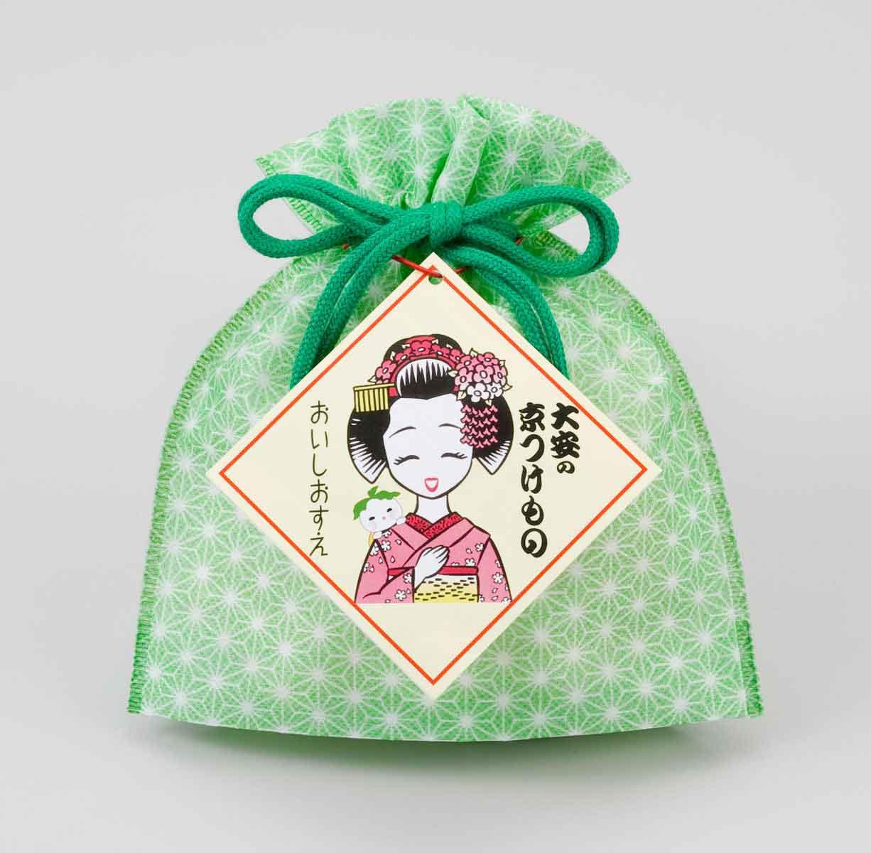 京つけものおみやげ袋 M-6 3袋入 緑