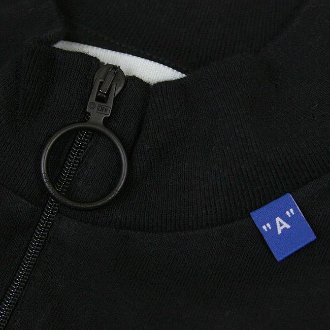 OFF-WHITE Tシャツ オフホワイト メンズ 長袖Tシャツ ポケT モックネック ハーフジップ DIAG BACKBONE ZIP MOCK NECK(BLACK × SILVER) 【OMAB031E191850011091】