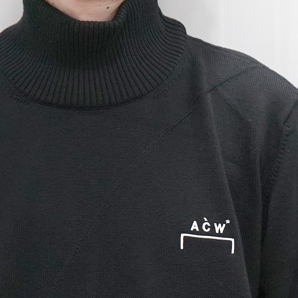 A COLD WALL ア コールド ウォール ACW プルオーバーribbed roll pullover Rollkragen BONE(BLACK) 【ACW-MF19-KC02】