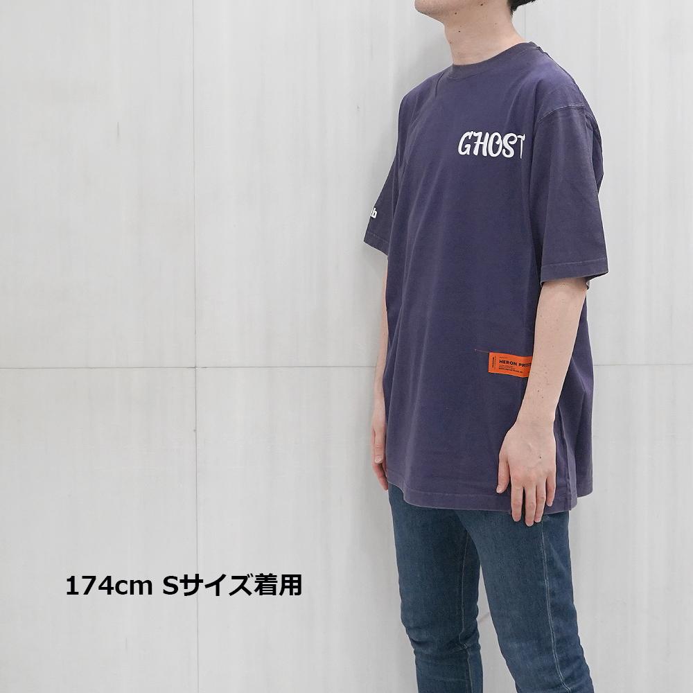 HERON PRESTON Tシャツ ヘロン プレストン オーバーサイズTシャツ GHOST OVER SIZE TEE (DARK BLUE) 【HMAA001F197600063201】