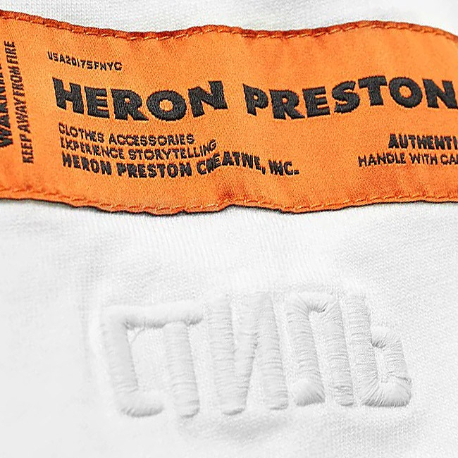 HERON PRESTON Tシャツ ヘロン プレストン style ドット オーバーサイズ ロンT 刺繍 ラバープリント HERON PRESTON LONG SLEEVE CTNMB DOTS TEE (WHITE) 【HMAB005F196000040288】