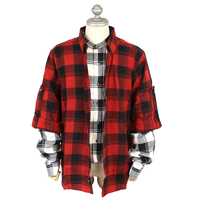 FAITH CONNEXION フェイスコネクション CHECK DOUBLE SLEEVES SHIRTS レイヤードシャツ (611 RED / BLACK)Layered Button-Up Shirt【X1800T00228】