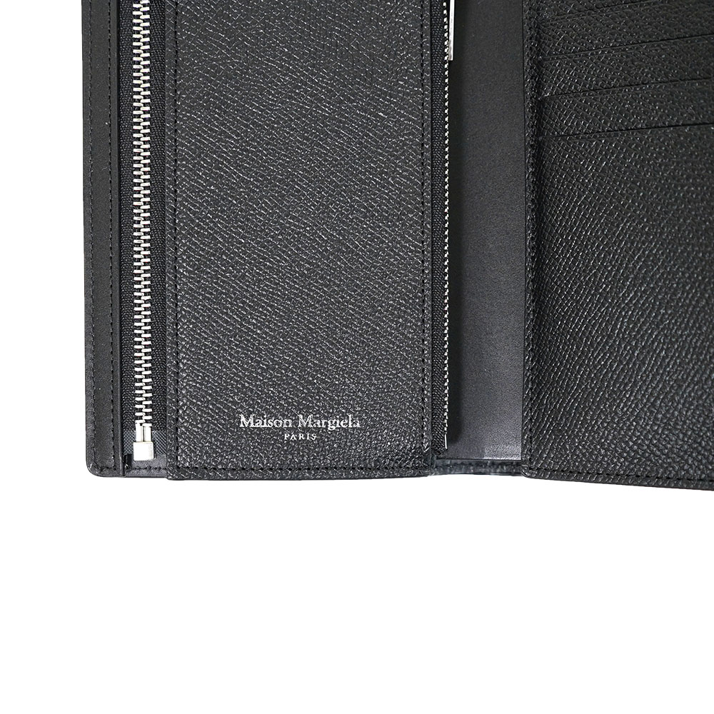 MAISON MARGIELA メゾンマルジェラ 財布 グレインレザー ファスナー 四つ折り財布 二つ折り財布 ミディアム 財布 カードケース コインケース(T8013 / BLACK) Leather Wallet【S35UI0430-P0399】