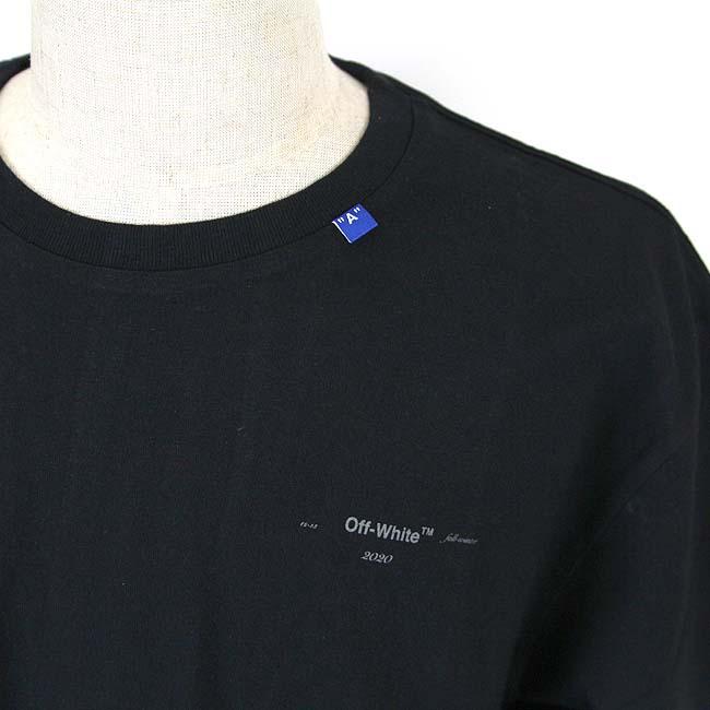 OFF-WHITE Tシャツ オフホワイト メンズ 半袖 BACKBONE S/S SLIM TEE(BLACK / SILVER) 【OMAA027E19185001】