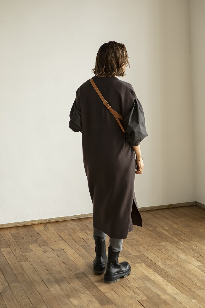 【SOLD OUT】Vネックニットロングジレ ブラウン