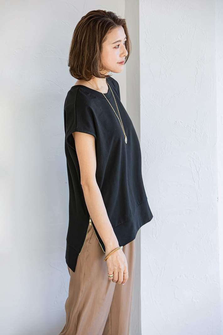 【SOLD OUT】Zip up裏毛Tops ブラック