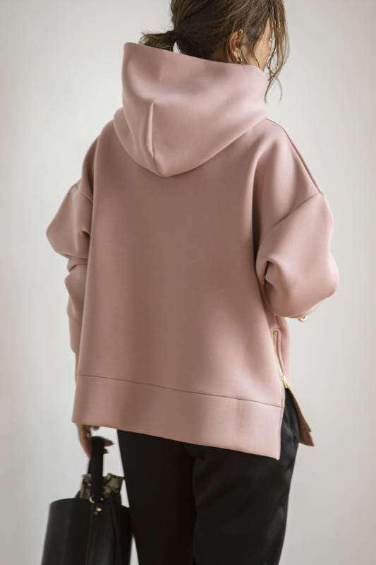 【SOLD OUT】Zip upボンディングフーディー ピンク
