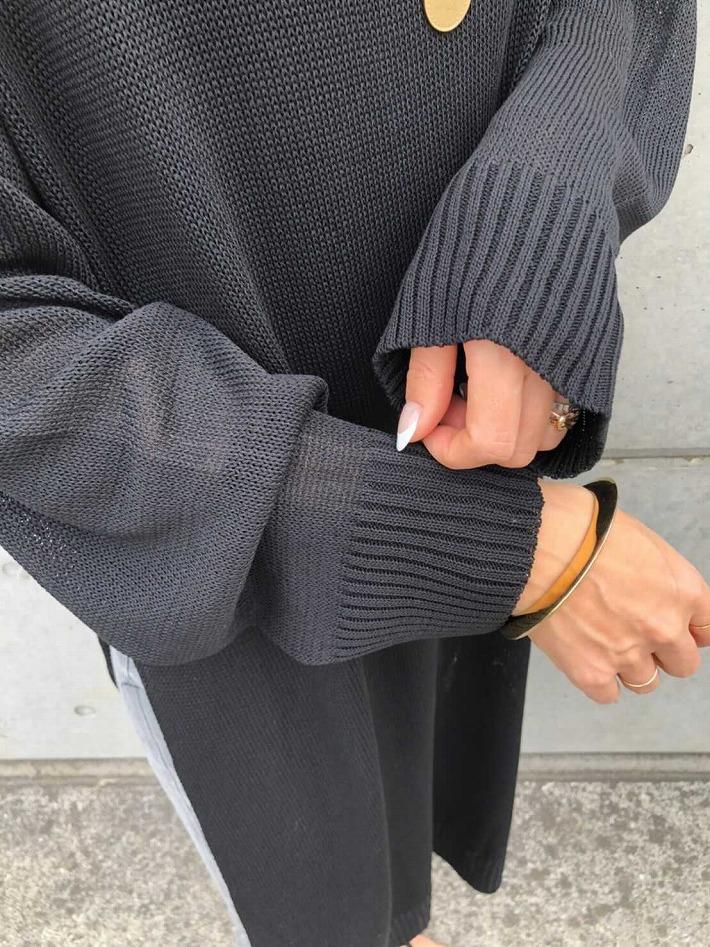 【SOLD OUT】リネンライクスリットOP ブラック