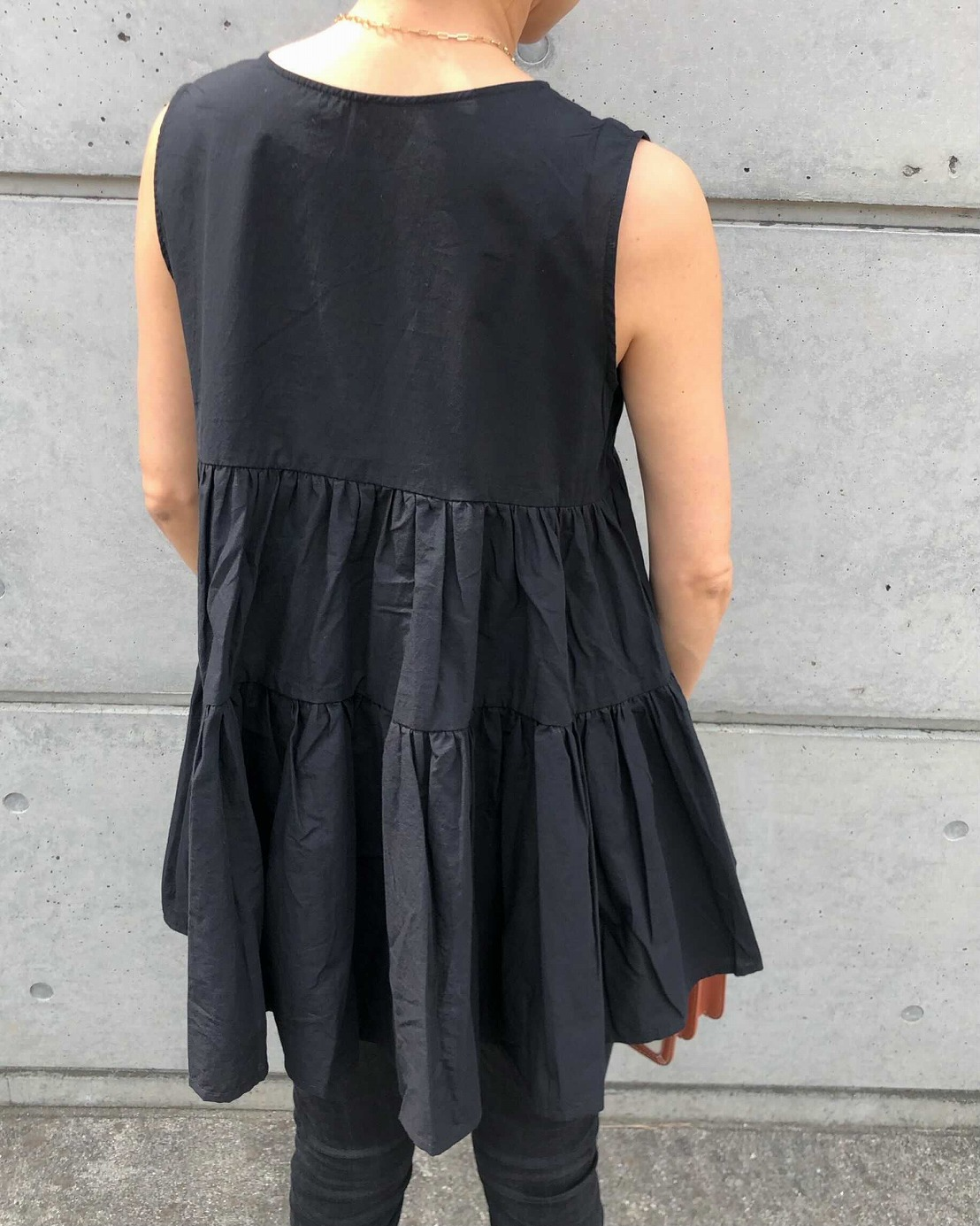 【SOLD OUT】Cローンティアードブラウス ブラック